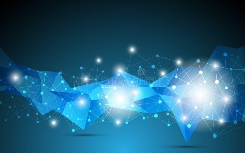 Bakgrund för begrepp för innovation för kommunikation för teknologi för vektorpolygondesign royaltyfri illustrationer