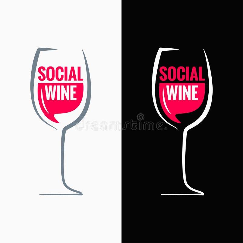 Bakgrund för begrepp för massmedia för vinexponeringsglas social royaltyfri illustrationer