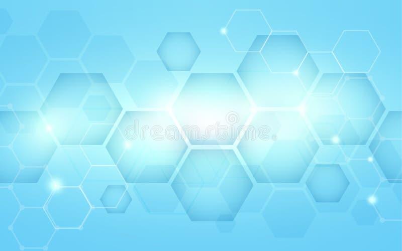 Bakgrund för begrepp för hög tech för blå abstrakt sexhörningsteknologi digital stock illustrationer