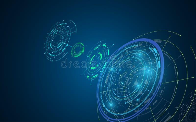 Bakgrund för begrepp för hög tech för Digital cyberspacetelekomar futuristisk stock illustrationer