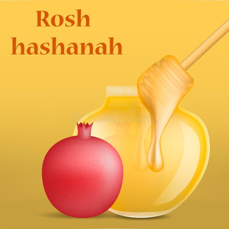 Bakgrund för begrepp för Rosh hashanahferie judisk, realistisk stil vektor illustrationer