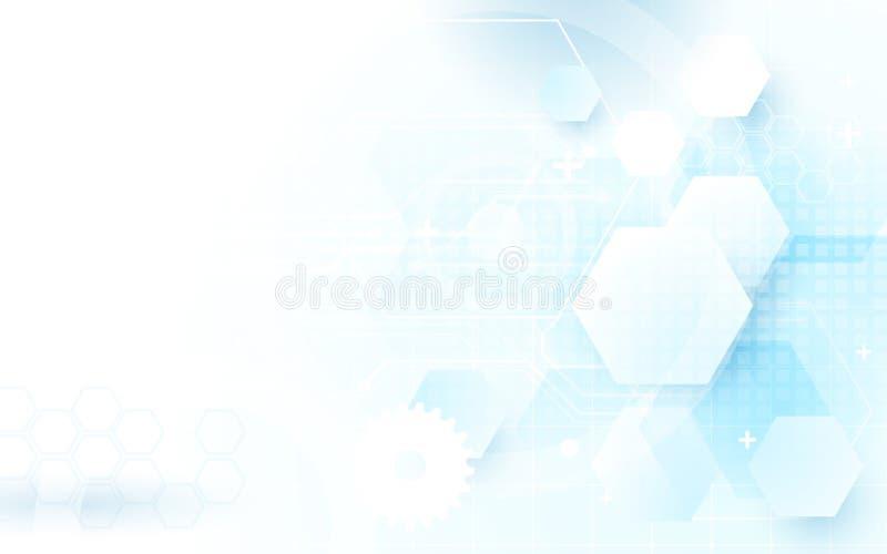 Bakgrund för begrepp för sexhörningar för hög tech för abstrakt blå teknologi digital stock illustrationer