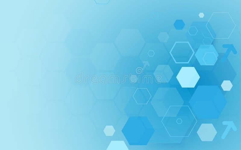 Bakgrund för begrepp för sexhörningar för hög tech för abstrakt blå teknologi digital din avståndstext vektor illustrationer