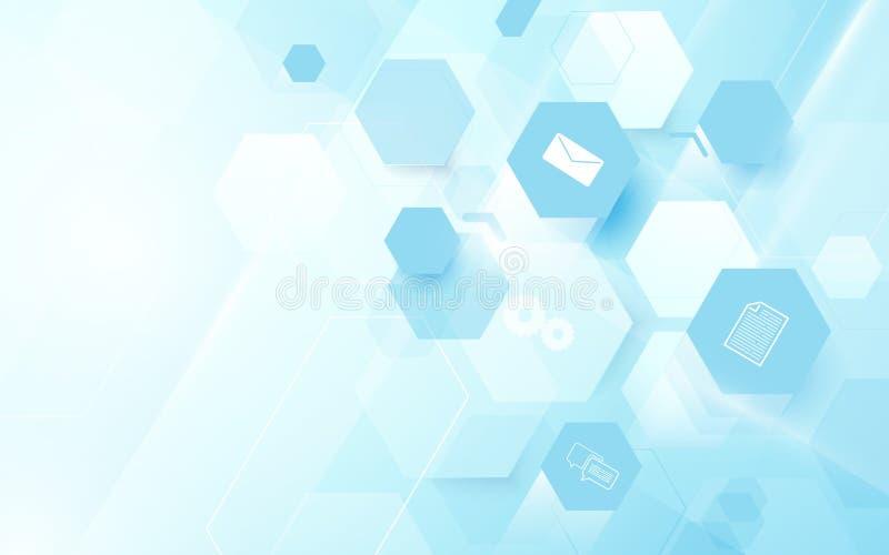 Bakgrund för begrepp för sexhörningar för hög tech för abstrakt teknologi digital vektor illustrationer