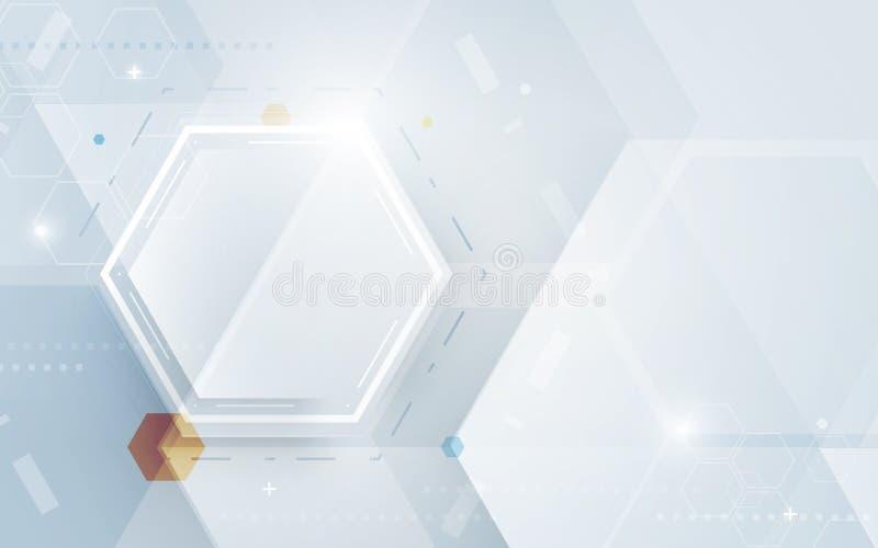 Bakgrund för begrepp för sexhörningar för hög tech för abstrakt teknologi digital stock illustrationer