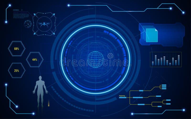 Bakgrund för begrepp för tech för skärm för Digital hudui faktisk royaltyfri illustrationer