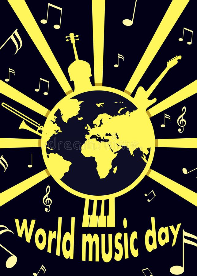 Bakgrund för begrepp för världsmusikdag, lägenhetstil stock illustrationer