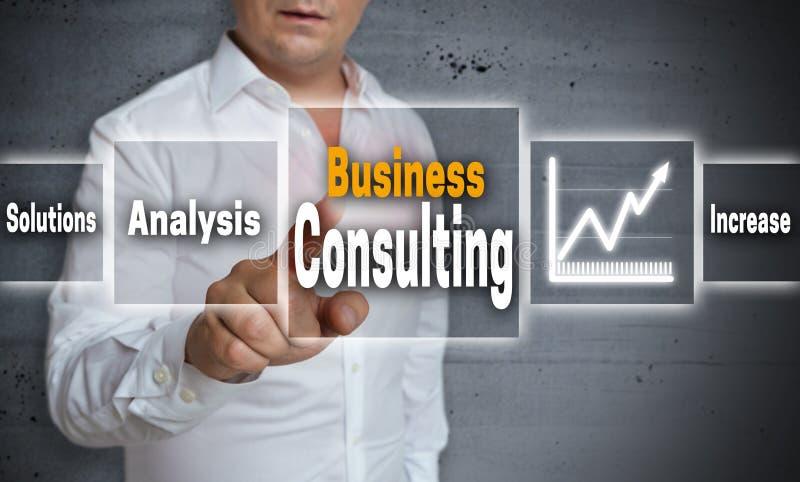 Bakgrund för begreppet för konsultera för affär visas av mannen royaltyfri bild