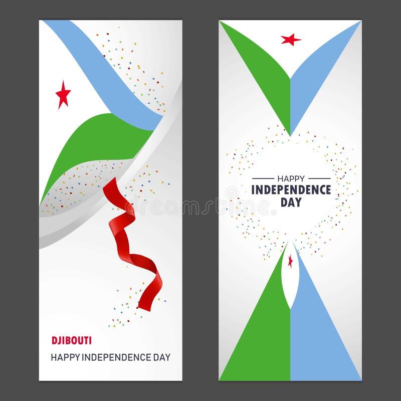 Bakgrund för beröm för Djibouti lycklig självständighetsdagenkonfettier vektor illustrationer