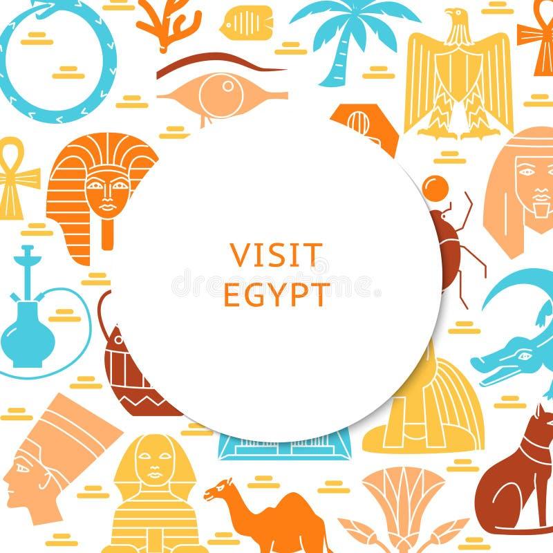 Bakgrund för besökEgypten begrepp i plan stil royaltyfri illustrationer