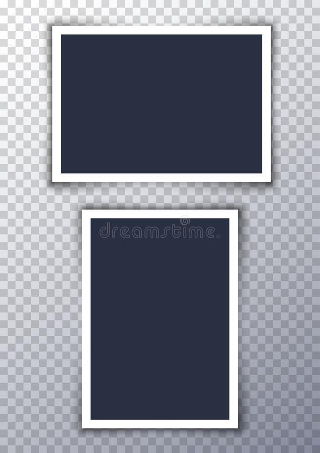 Bakgrund för bild för vektorfotoram Design för gränsfotografialbum Tom retro ram för bildbeståndsdel stock illustrationer
