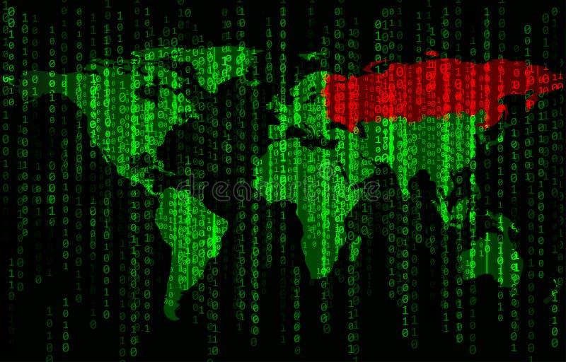 Bakgrund för binär kod med världskartan arkivfoto