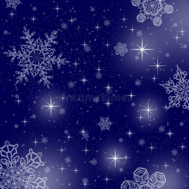 Bakgrund för blå stjärna med snöflingor royaltyfria bilder