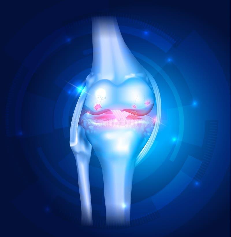 Bakgrund för blått för knäOsteoarthritisabstrakt begrepp royaltyfri illustrationer