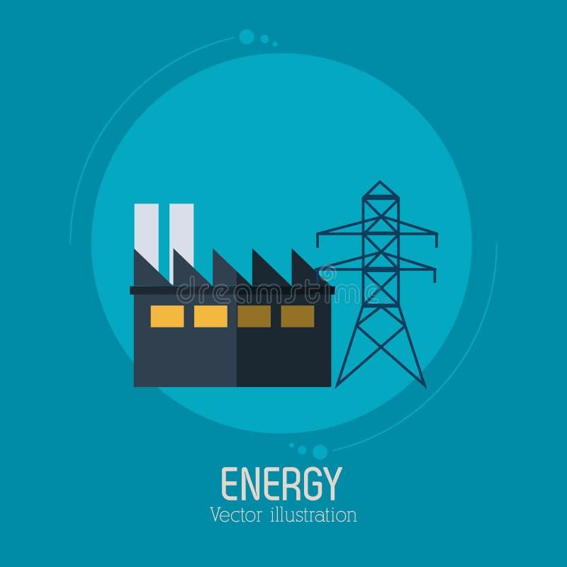 Bakgrund för blått för symbol för elektricitet för energifabrikstorn royaltyfri illustrationer