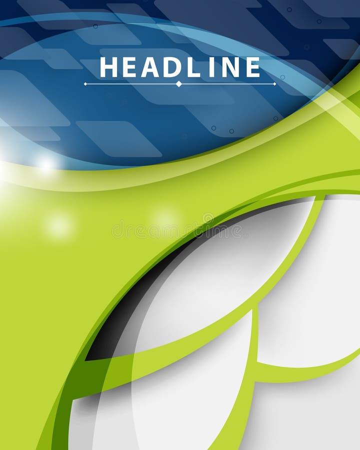 Bakgrund för blått och för gräsplan för företags affär för vektorteknologi modern abstrakt royaltyfri illustrationer