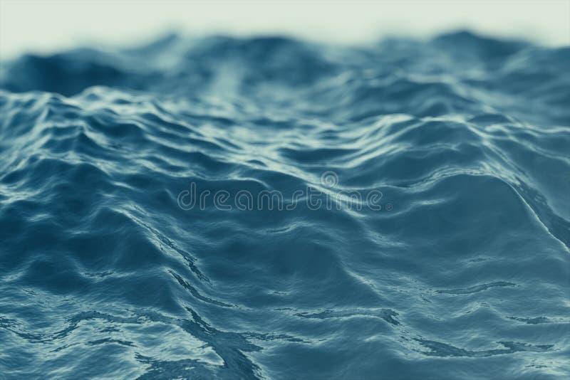 Bakgrund för blått vatten med krusningar, för vågbottenläge för hav, hav sikt för vinkel Närbildnaturbakgrund Mjuk fokus med royaltyfri bild
