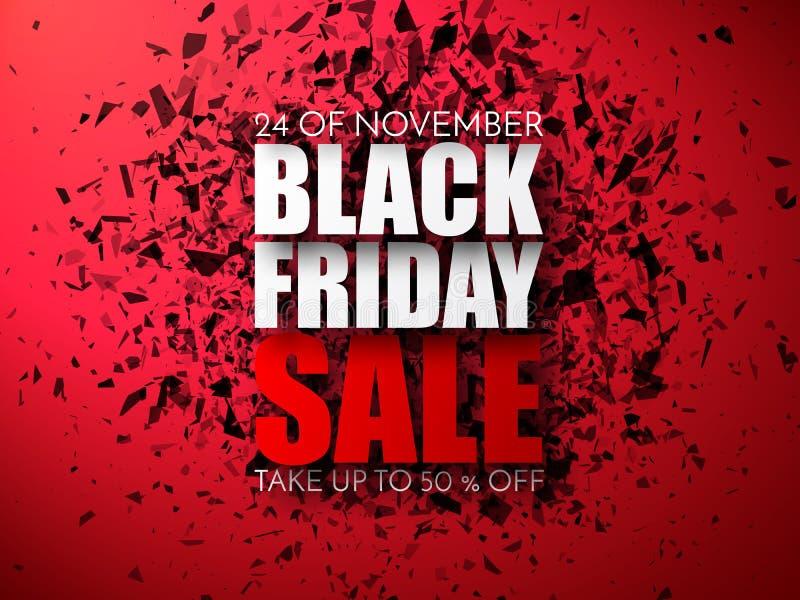 Bakgrund för Black Friday försäljningsabstrakt begrepp Vektorbaner med explosioneffekt vektor illustrationer