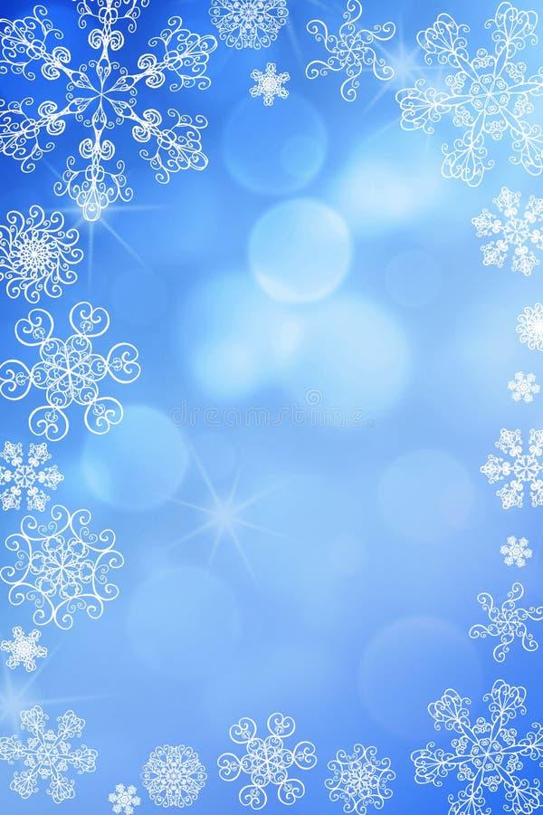 Bakgrund för bokeh för snö för abstrakt vinter för jul skinande med unika snöflingor vektor illustrationer