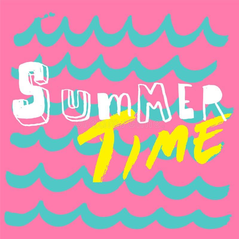 Bakgrund för bokstäver för sommartid rolig och för vågmodell vektor illustrationer