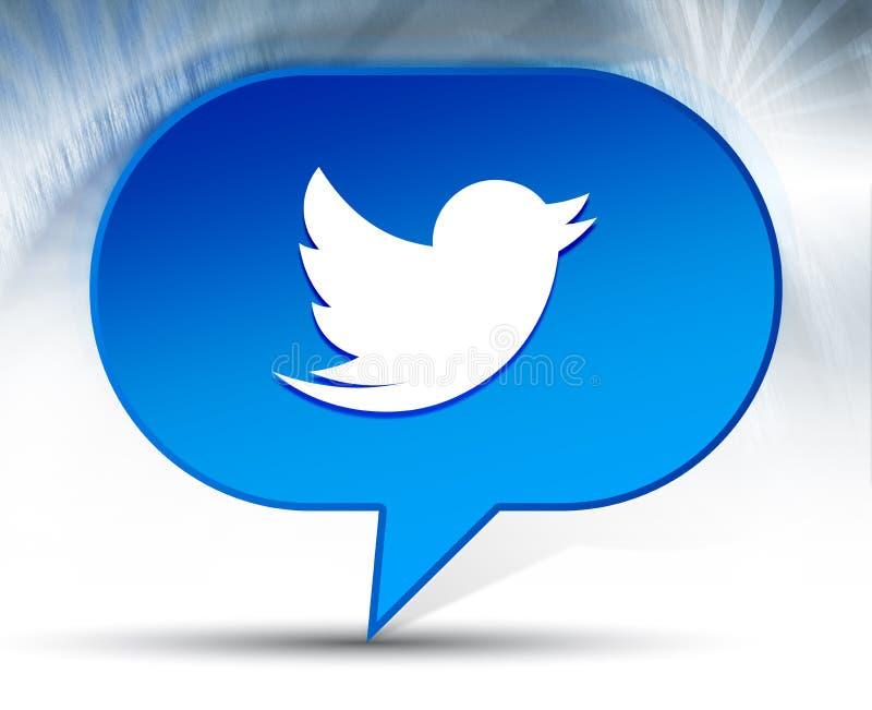 Bakgrund för bubblan för fågelsymbolen kvittrar blå royaltyfri illustrationer