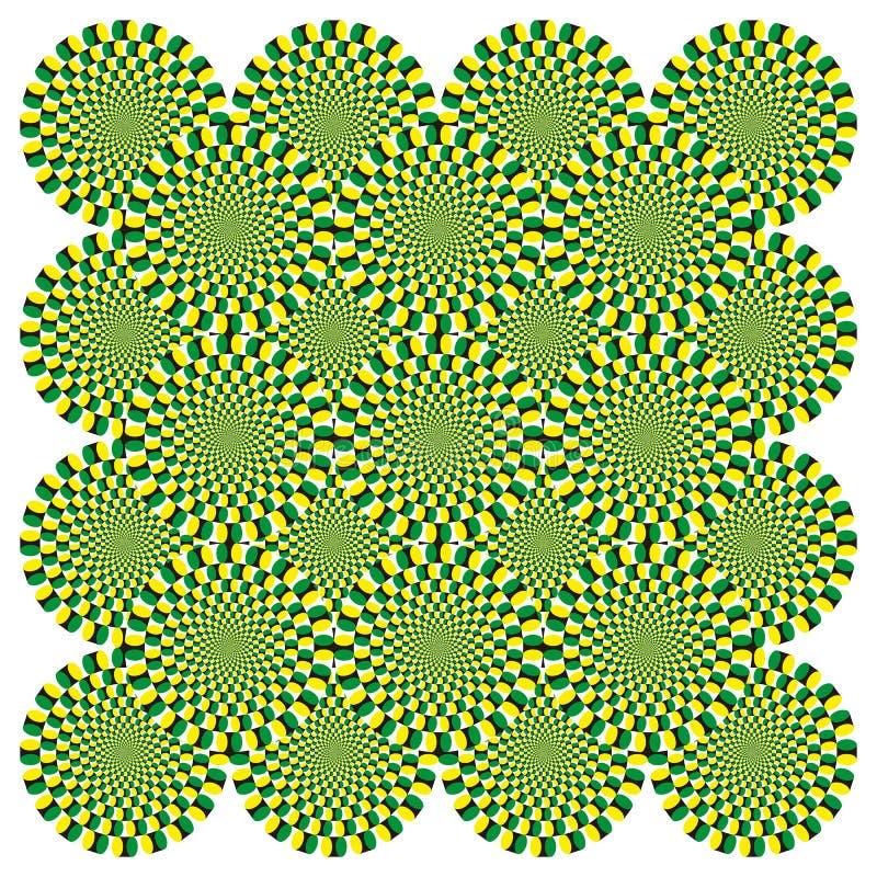 Bakgrund för cirkulering för snurrande för optisk illusion för vektor vektor illustrationer