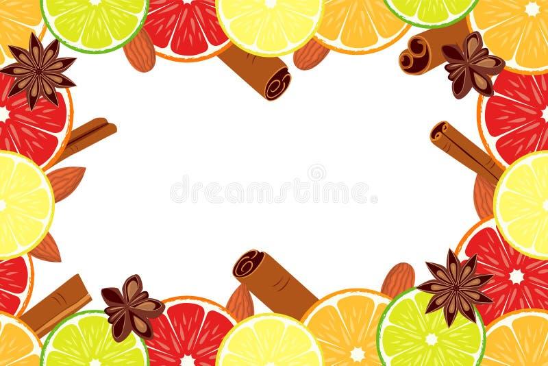 Bakgrund för citrus för frukt för affisch för strikt vegetariandagcolorfull stock illustrationer
