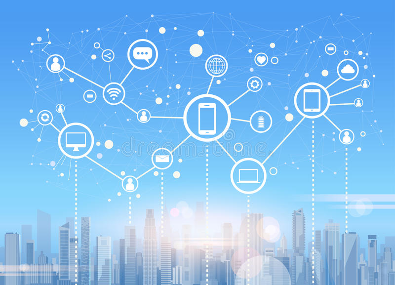 Bakgrund för Cityscape för sikt för skyskrapa för stad för anslutning för nätverk för samkvämMedia Communication internet royaltyfri illustrationer