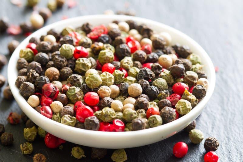 Bakgrund för closeup för röd peppar för olik färgrik krydda vit svart grön royaltyfri fotografi