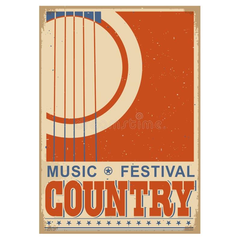 Bakgrund för countrymusikfestival med text Gammal affisch w för vektor vektor illustrationer