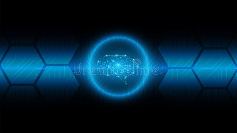 Bakgrund för Cyberhjärnteknologi på det blåa strömkretsbrädet som är modernt vektor illustrationer