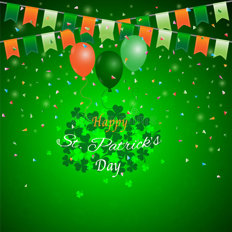 Bakgrund för dag för St Patrick ` s, grön treklöver med buntingballongen och konfettier vektor illustrationer