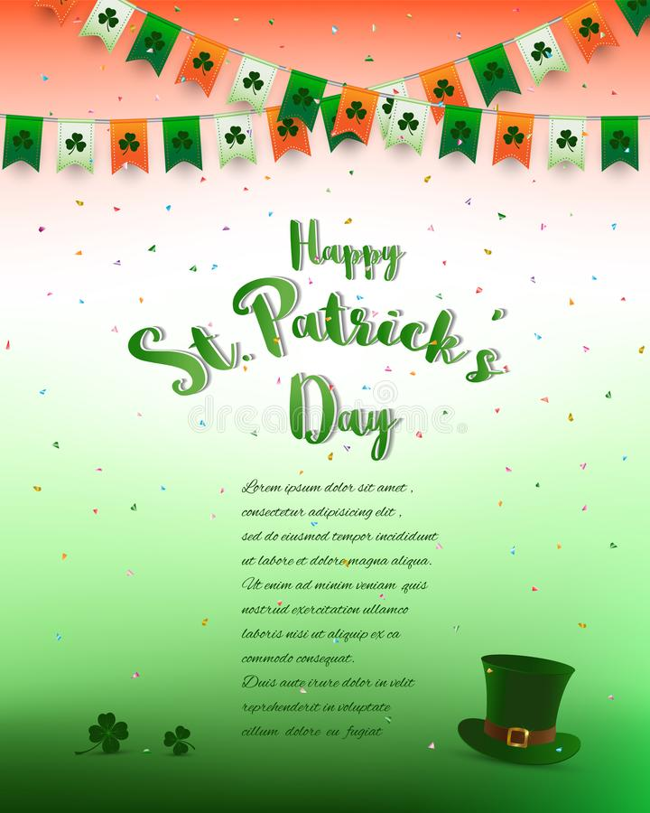 Bakgrund för dag för StPatrick ` s, design med bokstäver, konfettier och bunting i irländska färger, för inbjudan, hälsningkort,  royaltyfri illustrationer