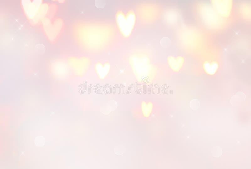 Bakgrund för dag för valentin` s Abstrakt glödande hjärtabakgrund Pastellfärgade färger, rosa färger och beiga vektor illustrationer