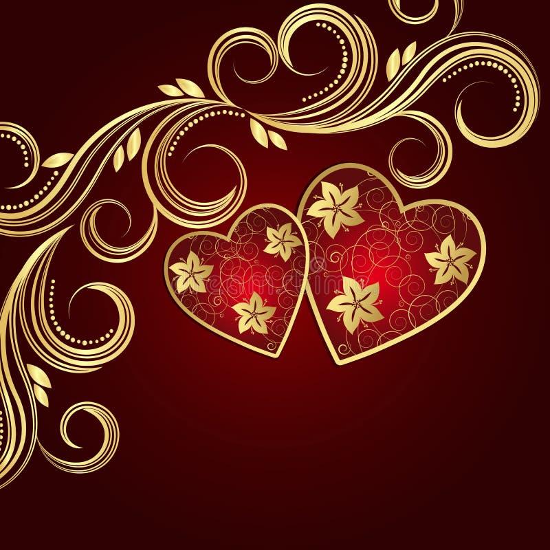 Bakgrund för dag för valentin` s röd med hjärtor och guld- blom- swi stock illustrationer