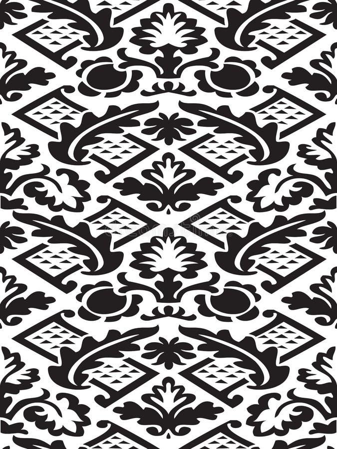 Bakgrund för damast sömlös blom- modell för vektor svartvit stock illustrationer