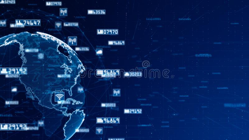 Bakgrund för data för Digitalt nätverk abstrakt och för begrepp för kommunikationsnätverk royaltyfri illustrationer