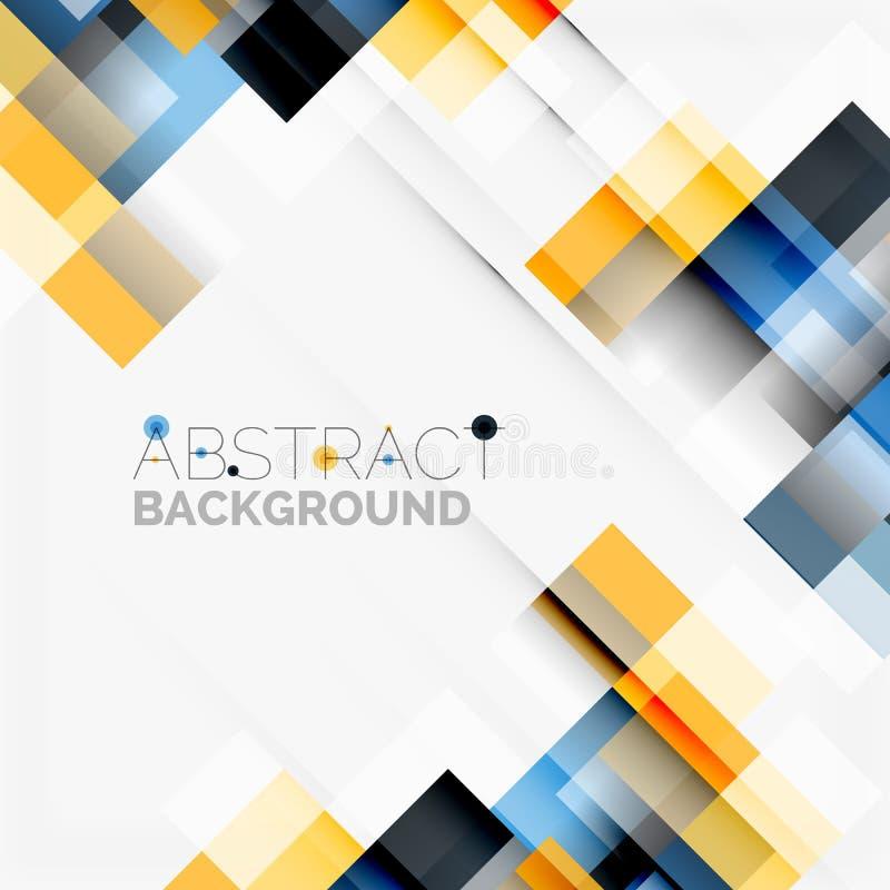 Bakgrund för design för abstrakt begreppkvartermall, enkla geometriska former på vit, raka linjer och rektanglar royaltyfri illustrationer