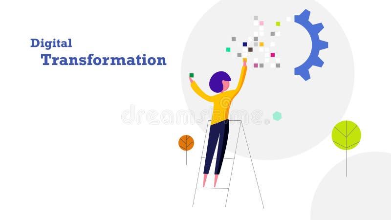 Bakgrund för design för Digital omformning plan Människan fyller i PIXELdataklistermärke till det industriella kugghjuldrevet ind vektor illustrationer