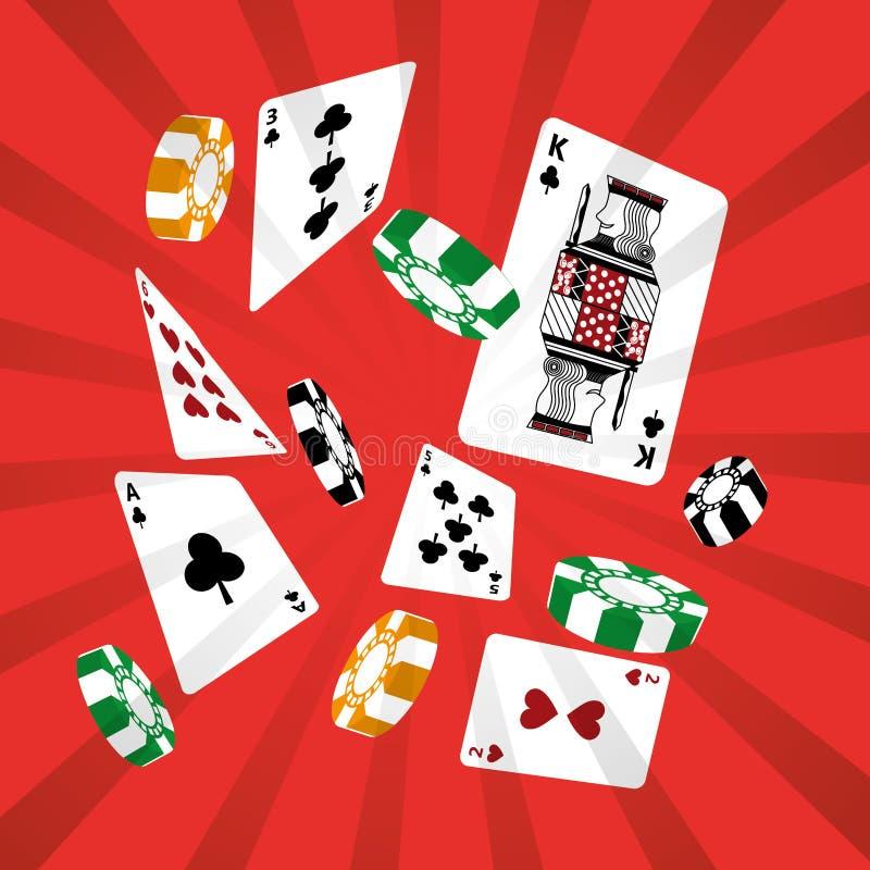Bakgrund för design för dobbleri för chip för pokerkortkasino röd stock illustrationer