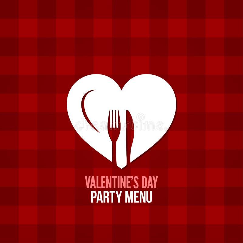 bakgrund för design för drink för mat för valentindagmeny vektor illustrationer