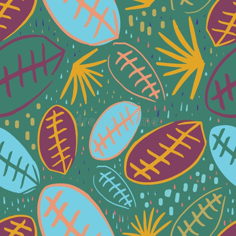 Bakgrund för design för modell för grönt orange purpurfärgat gult blått djungelblad sömlös stock illustrationer