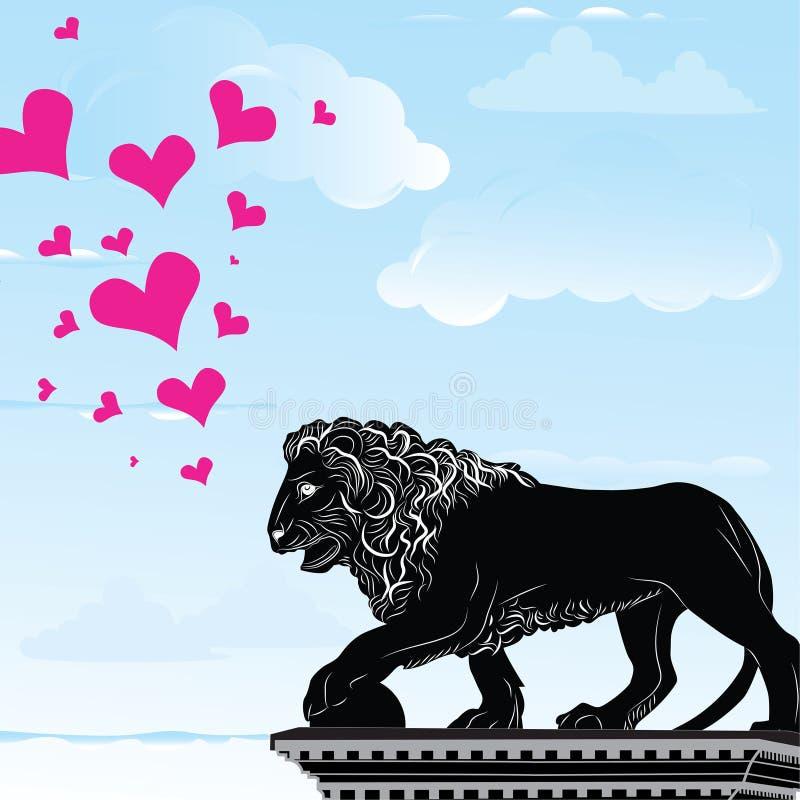 Bakgrund för destination för förälskelsehjärtalopp med symbol av Florence, staty av ett lejon, Italien, vektor illustrationer