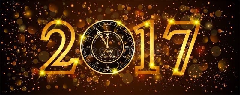 Bakgrund för det lyckliga nya året med guld blänker vektor illustrationer