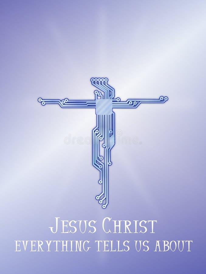 Bakgrund för diagram för Jesus Christ korsströmkrets blå stock illustrationer
