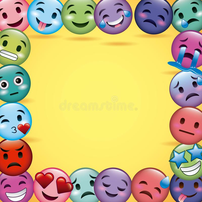 Bakgrund för differents för garnering för Emoji leenderam gul vektor illustrationer