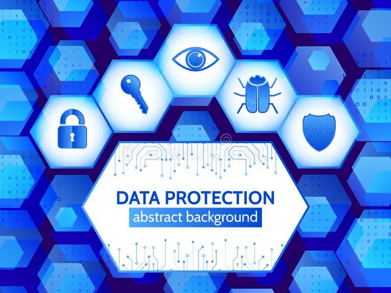 Bakgrund för Digital säkerhetsbegrepp globalt internetnätverk stock illustrationer