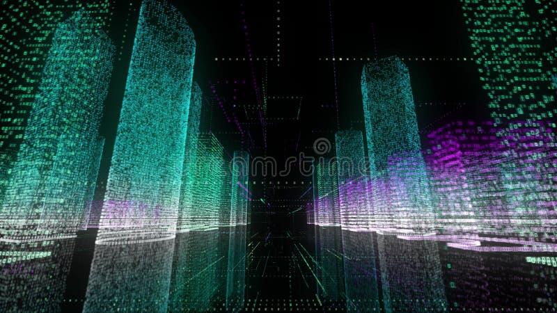 Bakgrund för Digital teknologi och affärsidéav ljus neonwireframe av det moderna digitala centret med royaltyfri illustrationer