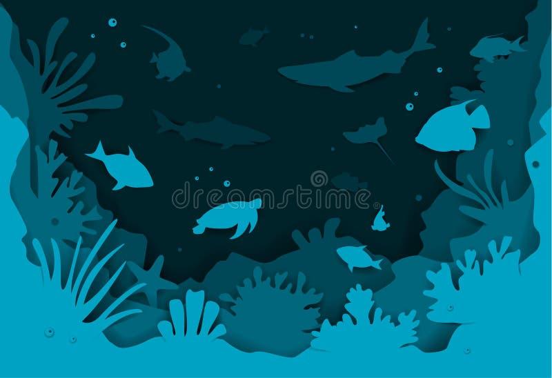 Bakgrund för djupt hav för papperssnittstil undervattens- med textur för fisk- och för korallrever vektorillustration vektor illustrationer