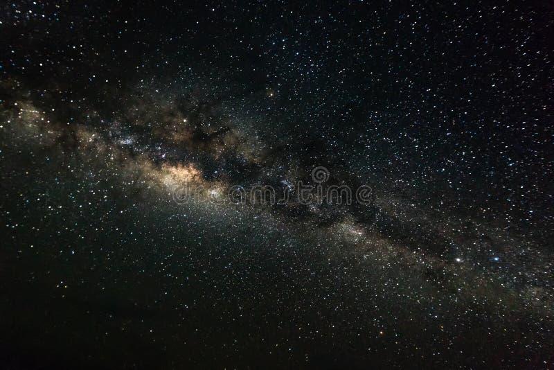 Bakgrund för djupt utrymme med stardust och den glänsande stjärnan Vintergatan arkivfoto